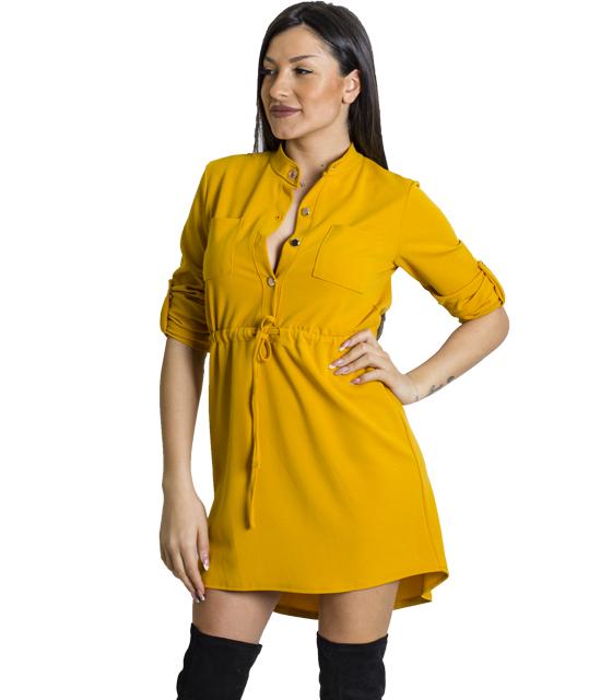 Μίνι φόρεμα με τσέπες και κουμπιά (Μουσταρδί)