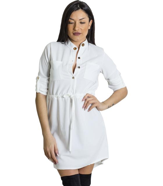 Μίνι φόρεμα με τσέπες και κουμπιά (Λευκό)