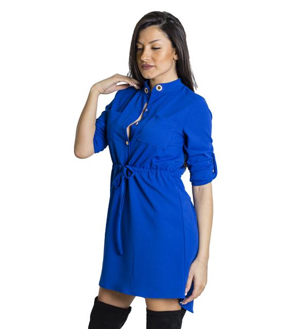 Μίνι φόρεμα με τσέπες και κουμπιά (Μπλε)