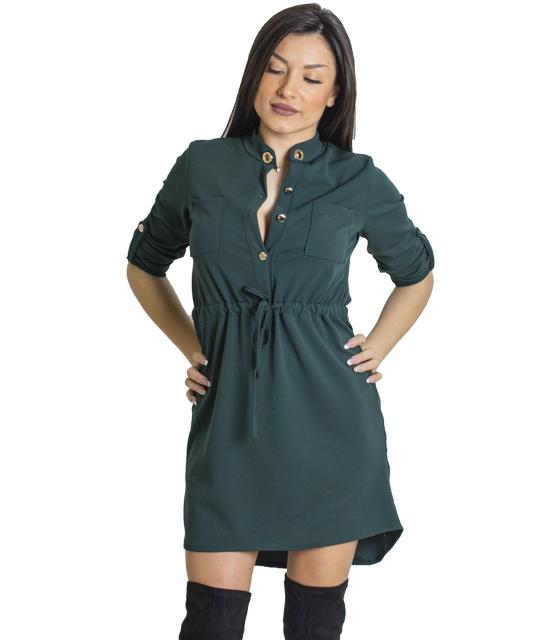 Μίνι φόρεμα με τσέπες και κουμπιά (Πράσινο)