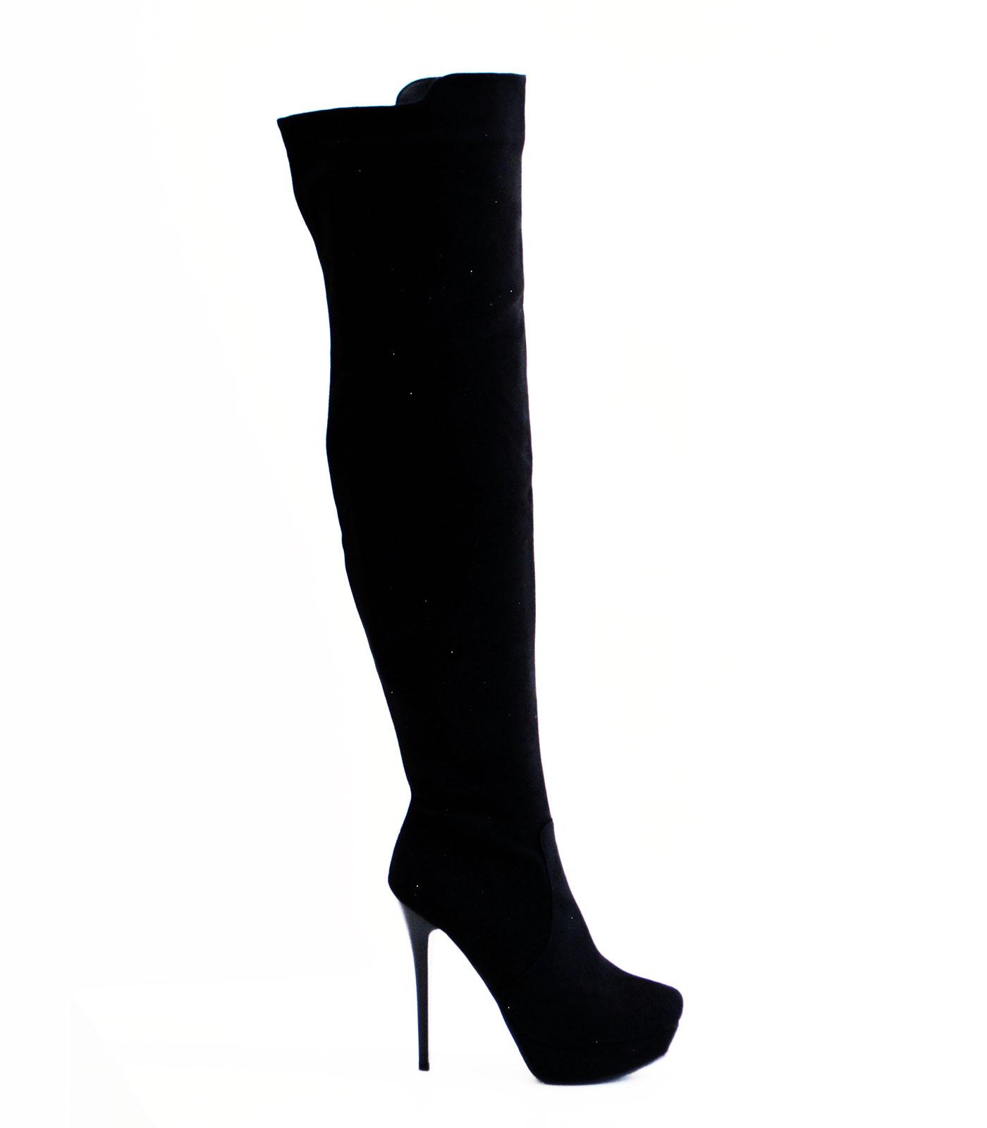 Μαύρη μπότα σουέτ over the knee με φερμουάρ