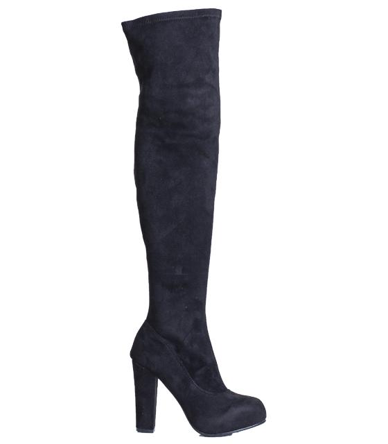 Μαύρη μπότα σουέτ over the knee