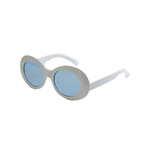Στρόγγυλα γυαλιά ηλίου με μπλε φακό και κοκκάλινο σκελετό (Λευκό)