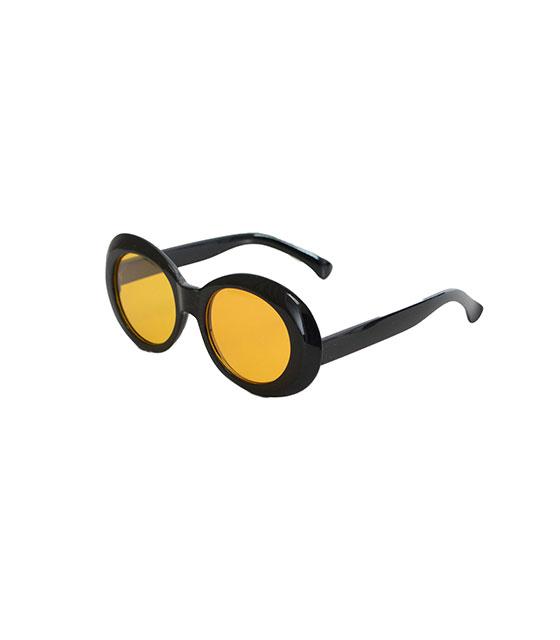 Στρόγγυλα γυαλιά ηλίου με κίτρινο φακό και κοκκάλινο σκελετό (Μαύρο)