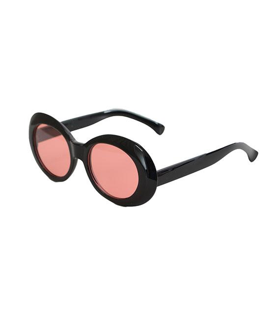Στρόγγυλα γυαλιά ηλίου με ροζ φακό και κοκκάλινο σκελετό (Μαύρο)