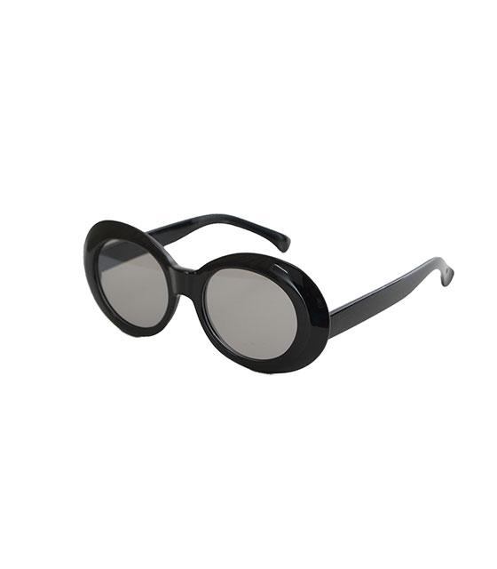 Στρόγγυλα γυαλιά ηλίου με μαύρο φακό και κοκκάλινο σκελετό (Μαύρο)