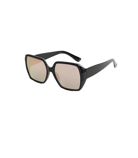Μαύρα γυαλιά ηλίου με ροζ καθρέφτη και κοκκάλινο μικρό σκελετό αξεσουάρ   γυαλιά