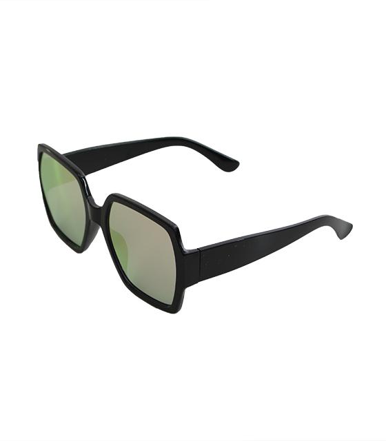 Μαύρα γυαλιά ηλίου με ροζ καθρέφτη και κοκκάλινο μεγάλο σκελετό αξεσουάρ   γυαλιά