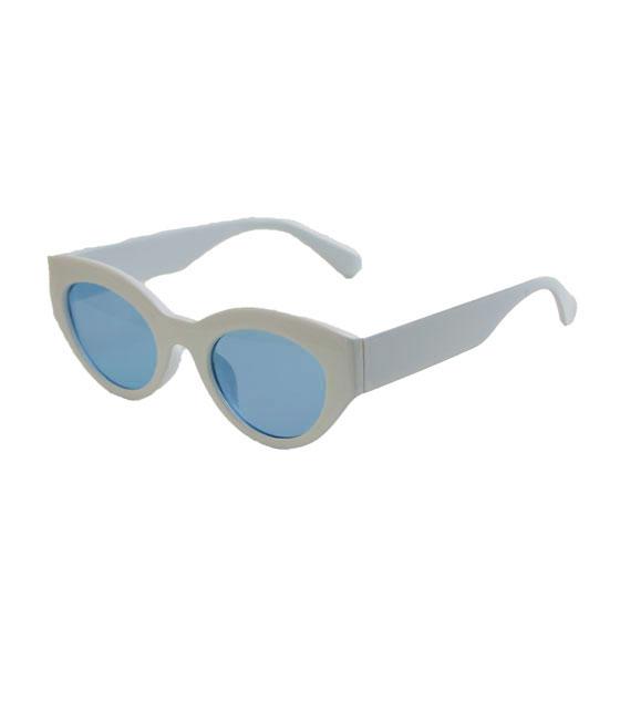 Cat-Eye γυαλιά με μπλε φακό και κοκκάλινο σκελετό (Λευκό)