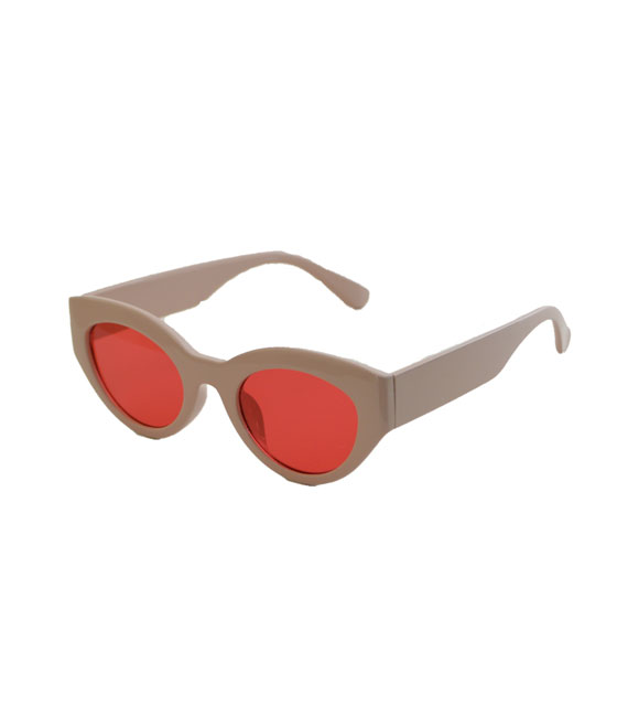 Cat-Eye γυαλιά με ροζ φακό και κοκκάλινο σκελετό (Ροζ)