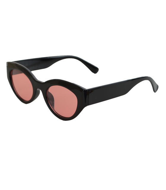 Cat-Eye γυαλιά με ροζ φακό και κοκκάλινο σκελετό (Μαύρο)
