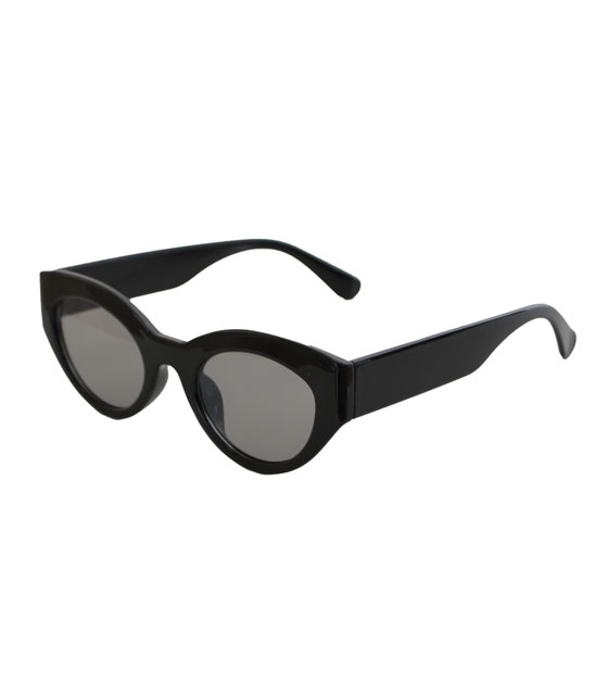 Cat-Eye γυαλιά με μαύρο φακό και κοκκάλινο σκελετό (Μαύρο)