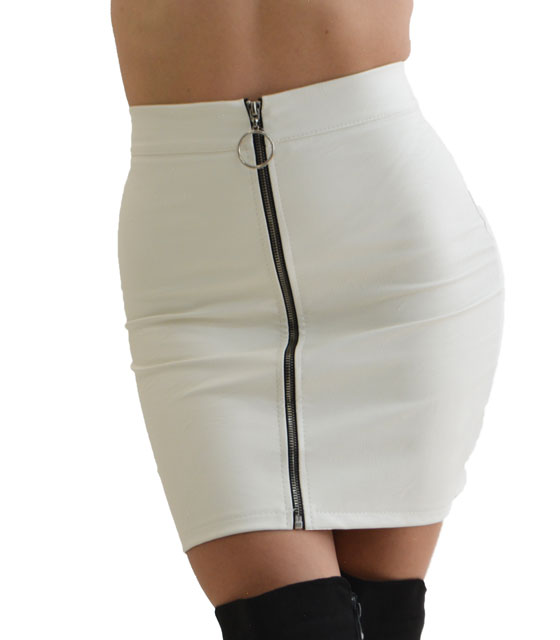 Φούστα δερματίνη με φερμουάρ στην μέση (Λευκό)