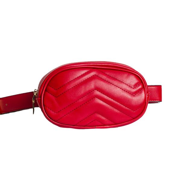 Κόκκινη τσάντα δερματίνη με ζώνη και χρυσή αλυσίδα