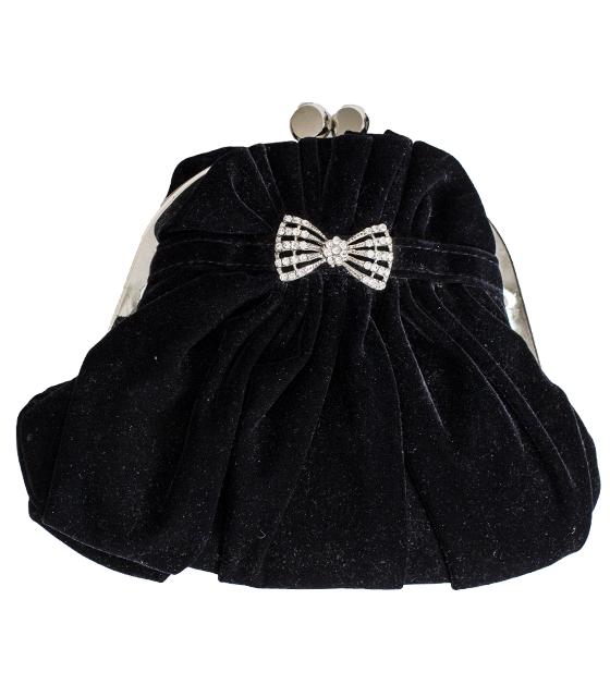 Μαύρο τσαντάκι σουέτ με φιόγκο