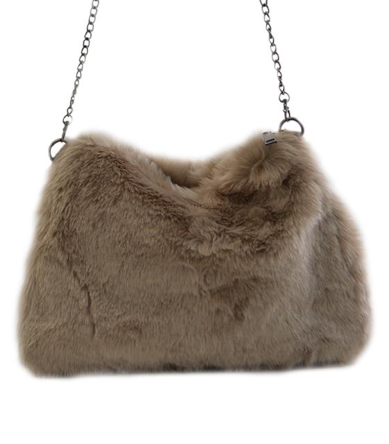 Γούνινη τσάντα με αλυσίδα (Μπεζ)