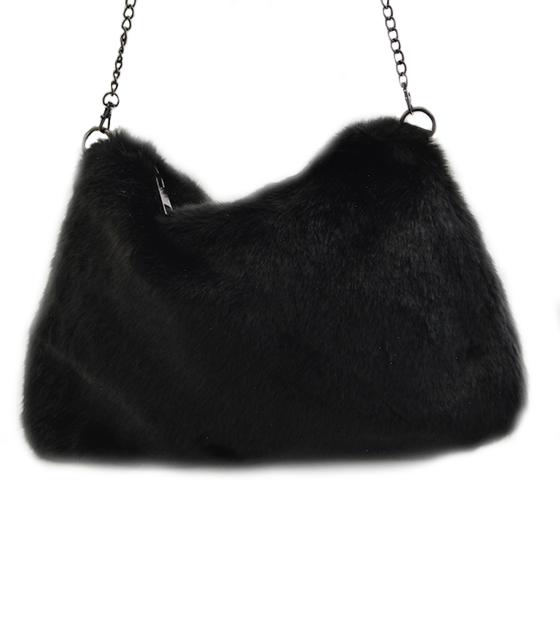 Γούνινη τσάντα με αλυσίδα (Μαύρο)