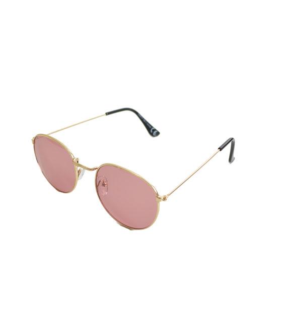 Γυαλιά ηλίου χρυσά συρμάτινα με φουξ φακό αξεσουάρ   γυαλιά