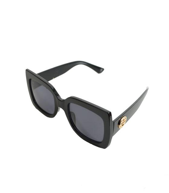 Τετράγωνα γυαλιά ηλίου μαύρα κοκκάλινα με μαύρο φακό αξεσουάρ   γυαλιά