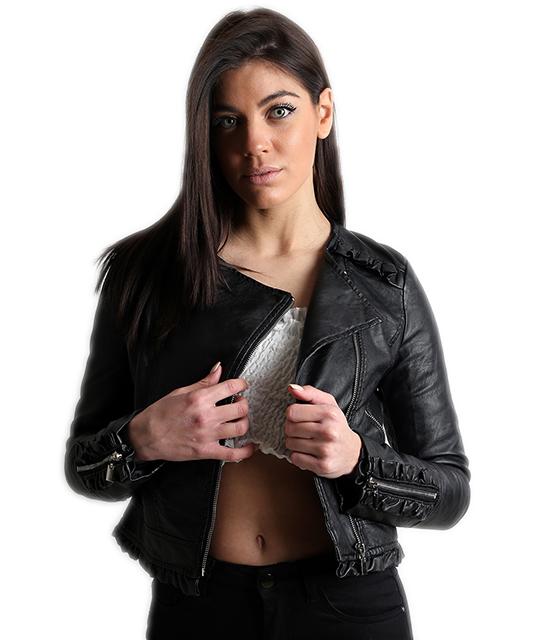 Μαύρο jacket δερματίνη με ασημί φερμουάρ