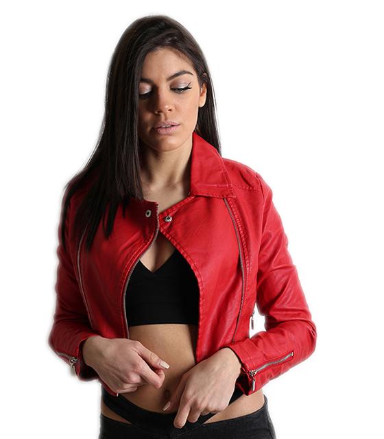 Κοντό jacket δερματίνη με φερμουάρ στα μανίκια (Κόκκινο)