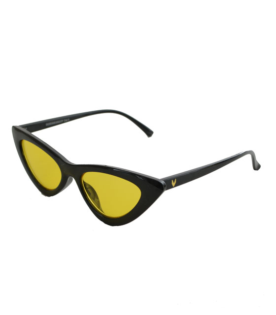 Cat-Eye γυαλιά ηλίου με κίτρινο φακό (Μαύρο)