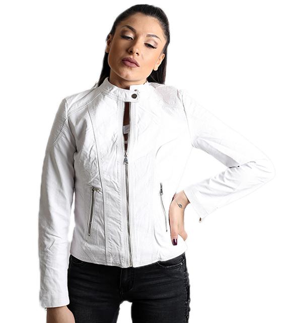 Λευκό jacket δερματίνη με φερμουάρ και κούμπωμα στο λαιμό