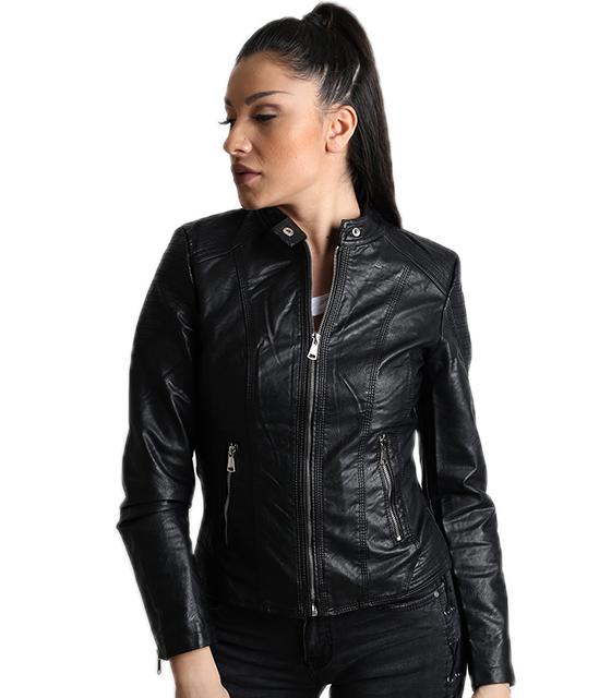Μαύρο jacket δερματίνη με φερμουάρ και κούμπωμα στο λαιμό