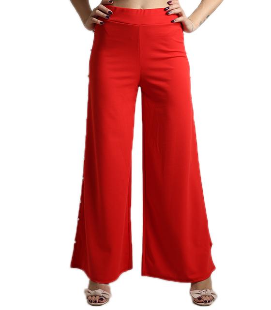 Ψηλόμεση παντελόνα με πέρλες στο πλάι (Κόκκινο)