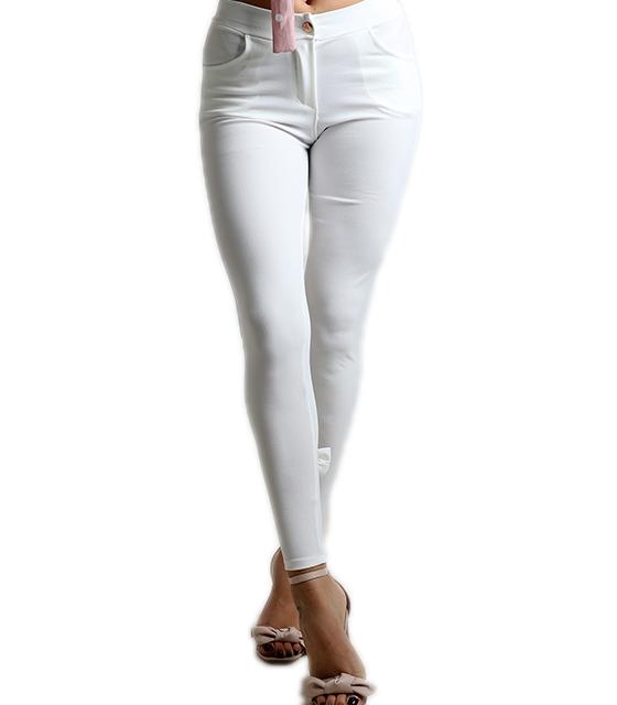 Ψηλόμεσο παντελόνι με φιογκάκια στο πίσω μέρος (Λευκό)