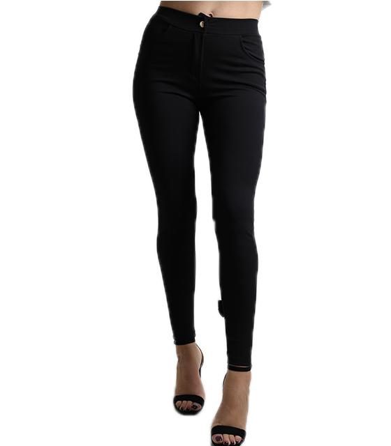 Ψηλόμεσο παντελόνι με φιογκάκια στο πίσω μέρος (Μαύρο)