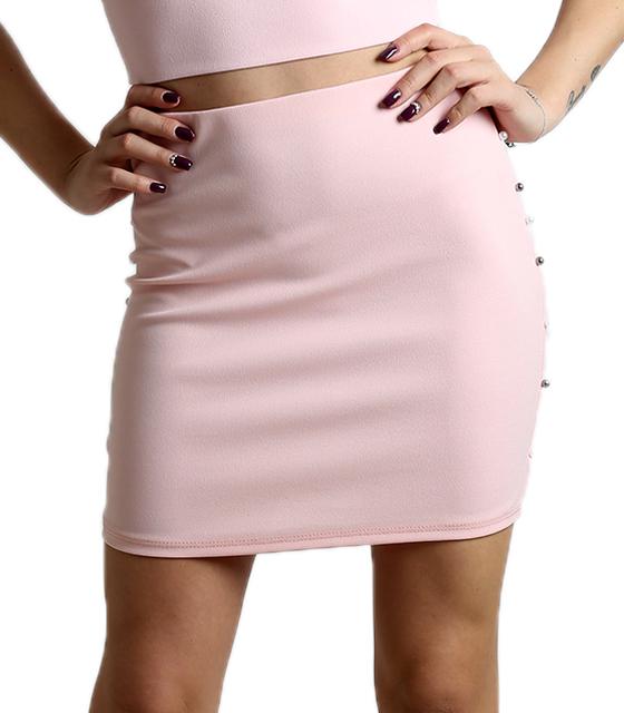 Ροζ φούστα με λάστιχο στην μέση και πέρλες στο πλάι