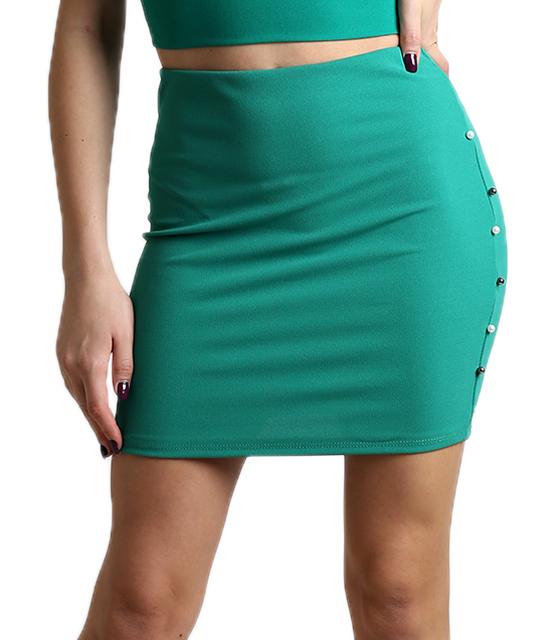 Πράσινη φούστα με λάστιχο στην μέση και πέρλες στο πλάι