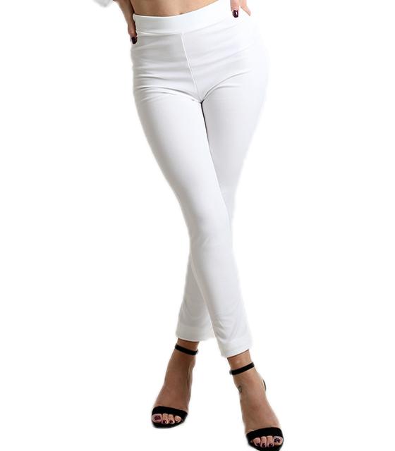 Λευκό παντελόνι με τσέπες και χιαστή στο πίσω μέρος