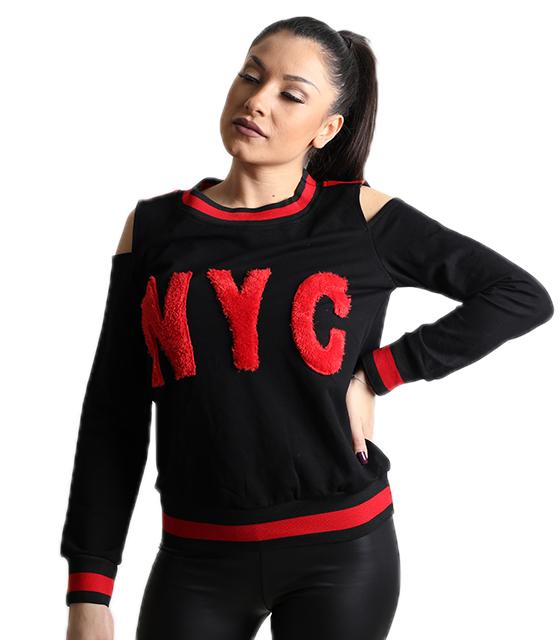 Μαύρη μπλούζα με έξω ώμους και επιγραφή ''NYC''
