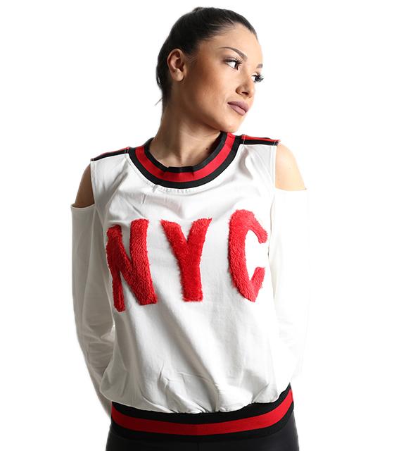 Λευκή μπλούζα με έξω ώμους και επιγραφή ''NYC''
