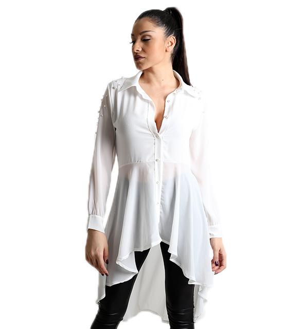 Λευκή πουκαμίσα με κούμπωμα πέρλες