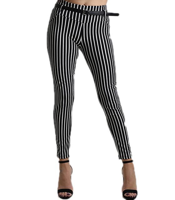 Ψηλόμεσο παντελόνι ριγέ με ζώνη (Ασπρόμαυρο)