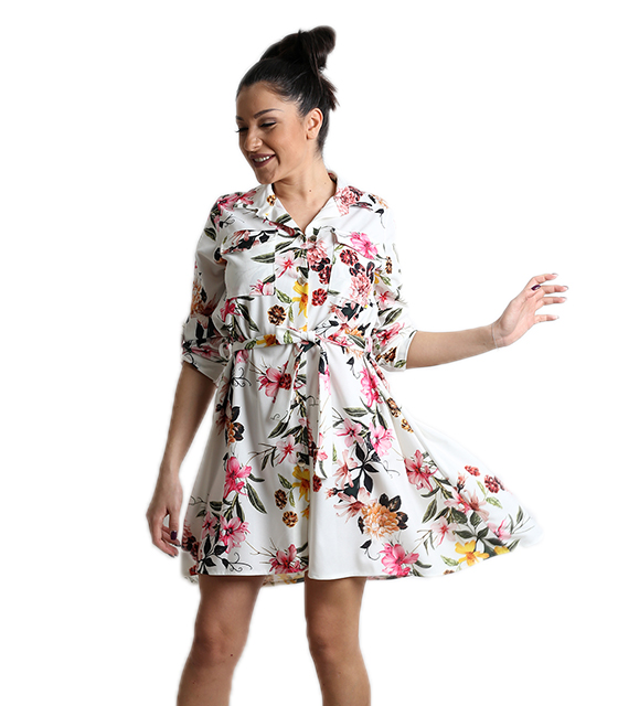 Φλοράλ φόρεμα με τσέπες και ζώνη (Λευκό)