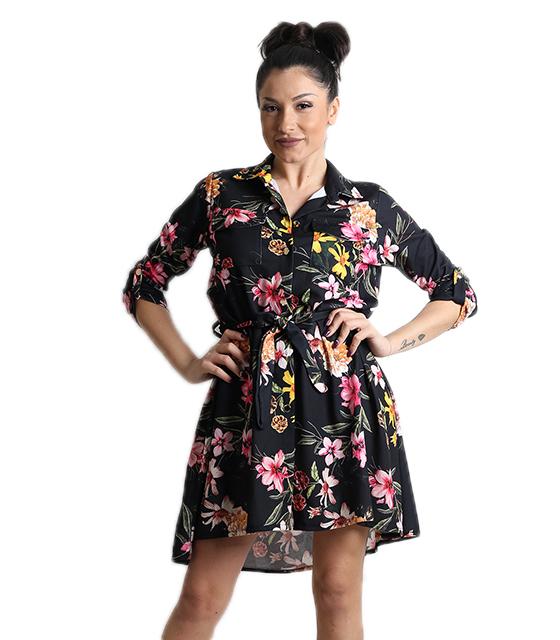Φλοράλ φόρεμα με τσέπες και ζώνη (Μαύρο)