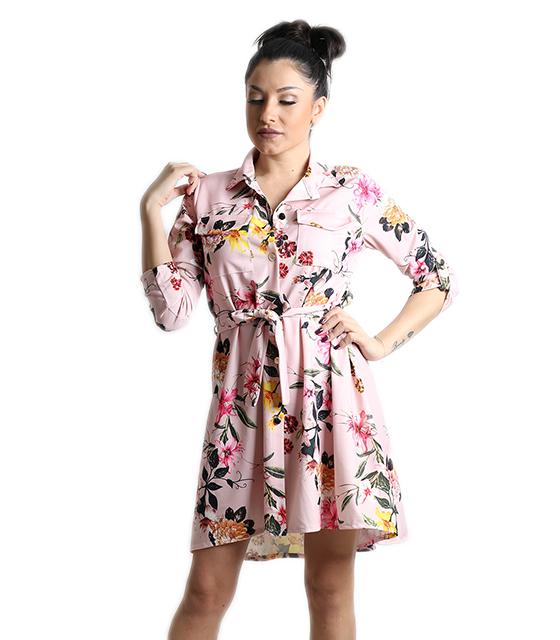Φλοράλ φόρεμα με τσέπες και ζώνη (Ροζ)