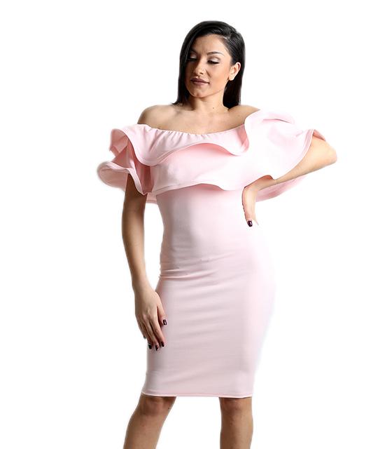 Ροζ φόρεμα με βολάν