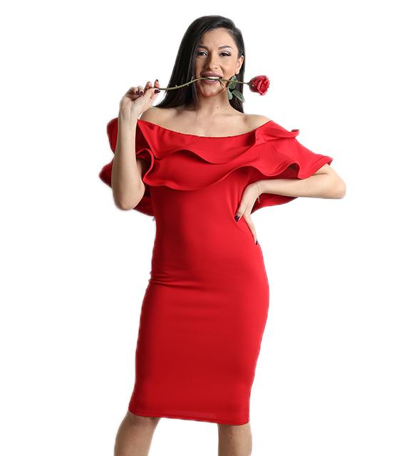 Κόκκινο φόρεμα με βολάν