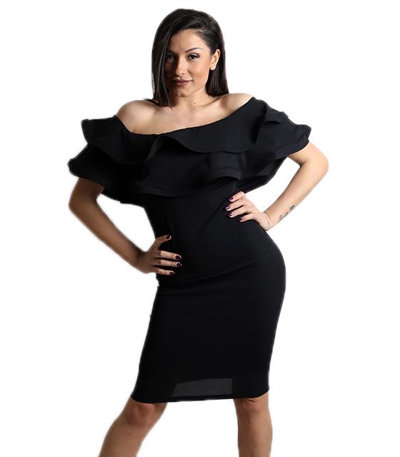 Μαύρο φόρεμα με βολάν ρούχα   φορέματα
