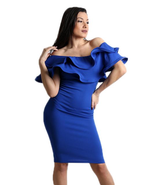 Μπλε φόρεμα με βολάν