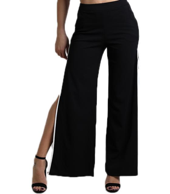 Ψηλόμεση παντελόνα με άνοιγμα στο πλάι και λευκή ρίγα (Μαύρο)