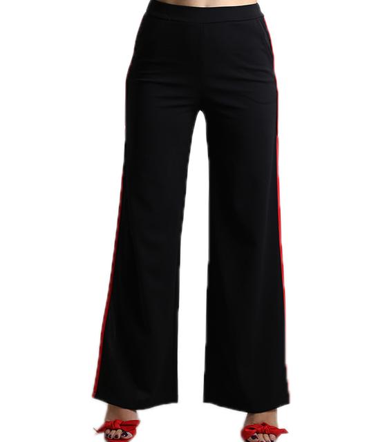Ψηλόμεση παντελόνα με άνοιγμα στο πλάι και κόκκινη ρίγα (Μαύρο)