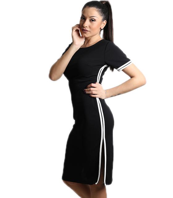Εφαρμοστό φόρεμα με άνοιγμα στην πλάτη και λευκές ρίγες (Μαύρο)