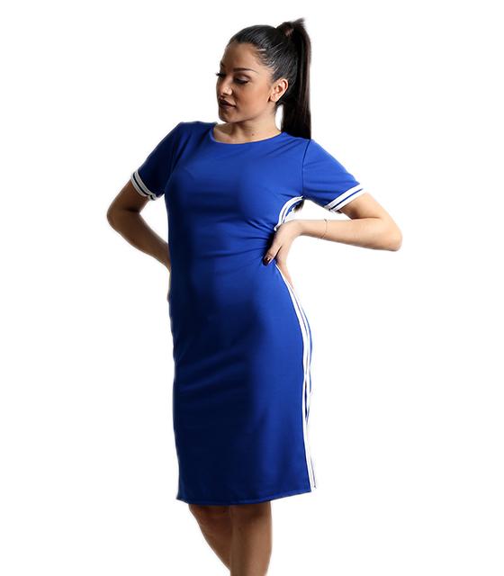 Εφαρμοστό φόρεμα με άνοιγμα στην πλάτη και λευκές ρίγες (Μπλε)