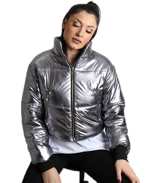 Κοντό jacket bomber (Ασημί)